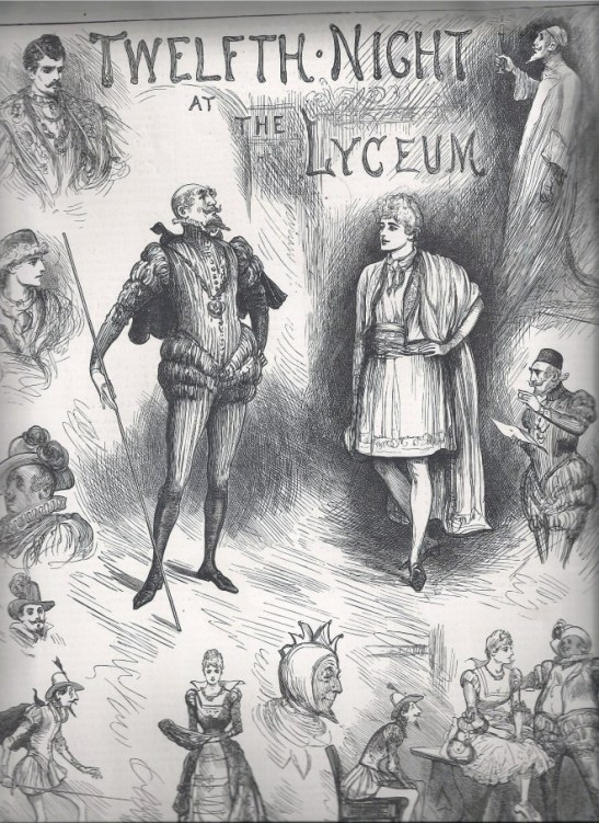 Click to enlarge Henry Irving is pictured centre playing Malvolio. The premier actor-manager of his day, Irving had previously been more famous for his Tragic roles, particularly Shylock.  This was clearly a successful production, however, with many sketches of Irving existing in this role, including one in the collection at the National Portrait Gallery.