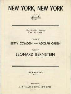 """Sheet music for """"New York, New York"""" from On the Town, 1944. Museum of the City of New York, 70.22.141B."""