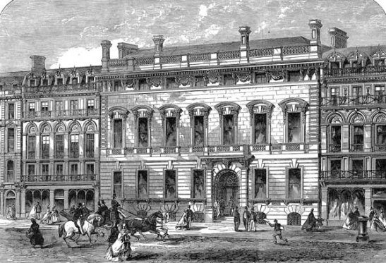 The Garrick Club in King Street, Covent Garden, London. Illustrated London News, 1864 [Wikimedia]
