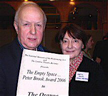 Sam Walters and Auriol Smith receiving the Empty Space Peter Brook Award for the Orange Tree Theatre in 2006 [Wikimedia]