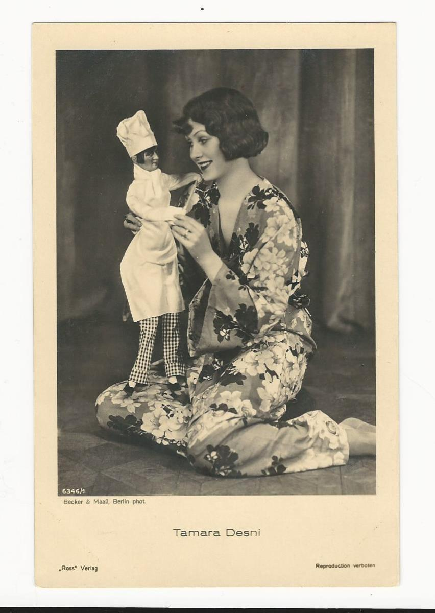 PORTRAIT OF PRETTY ACTRESS TAMARA DESNI AND A LIFELIKE DOLL (VINTAGE REAL PHOTO POSTCARD) | THE CABINET CARD GALLERY