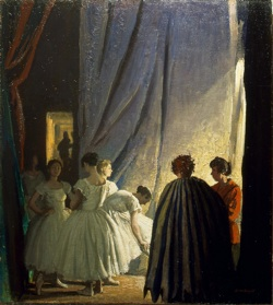 Behind the scenes/In the Coulisses c 1920 oil Picture credit: Laura Knight Copyright: © Reproduced with permission of The Estate of Dame Laura Knight DBE RA 2008. All Rights Reserved.