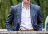 James Norton filming TV series Grantchester on Clare College Bridge in Cambridge in 205