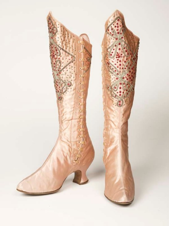 Bejewelled satin boots worn by music hall variety artiste Kitty Lord, 1894-1915