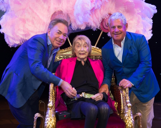Dame Gillian Lynne with Andrew Lloyd Webber and Cameron Mackintosh Photo Credit: Craig Sugden