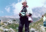 June Wyndham Davies on location in Switzerland for BBC's 1974 pr