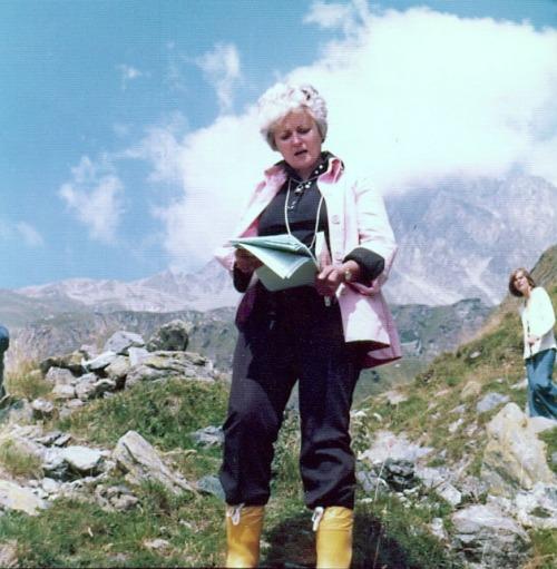 June Wyndham Davies on location in Switzerland for BBC's 1974 production of Heidi