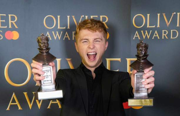 Best actor in a musical winner Sam Tutty, with another of the three Oliviers won by Dear Evan Hansen. Photo: Aemelia Taylor