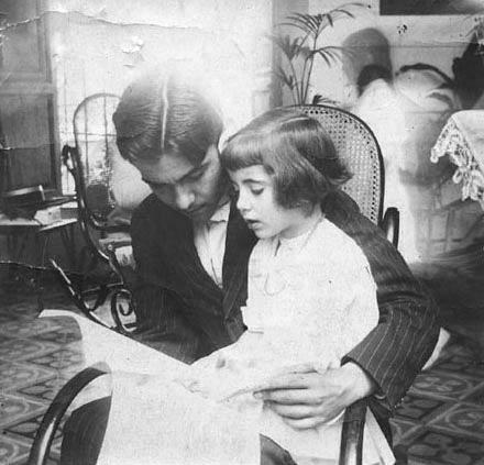 Federico García Lorca with his sister Isabel in Granada